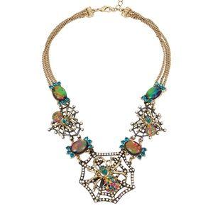Betsey Johnson Rhinestone Spider Necklace